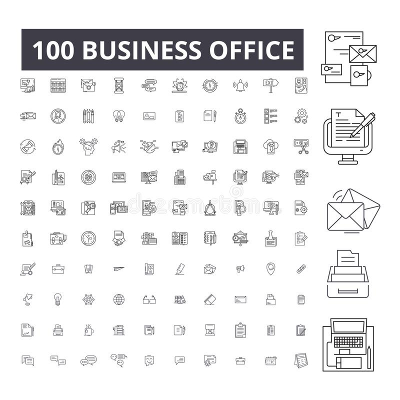 营业所编辑可能的线象,100传染媒介集合,汇集 营业所黑色概述例证,标志 皇族释放例证