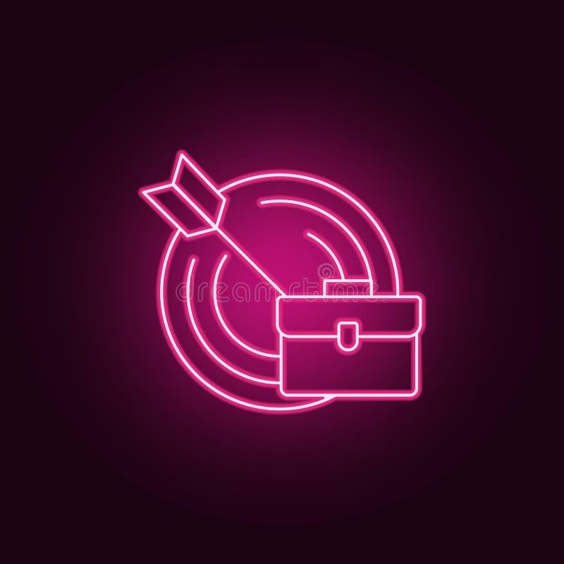 营业目的象 采访的元素在霓虹样式象的 网站的简单的象,网络设计,流动应用程序,信息图表 库存例证