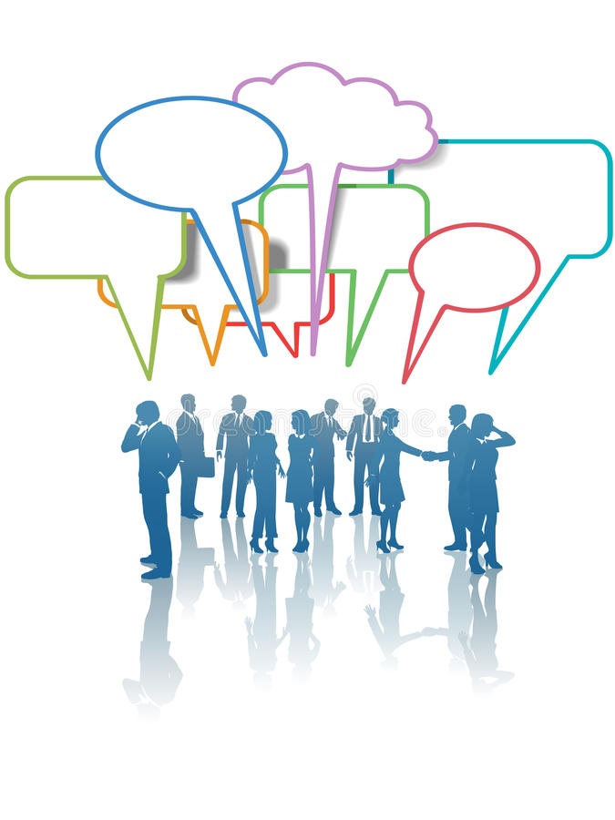 营业通讯媒体网络人谈话 库存例证