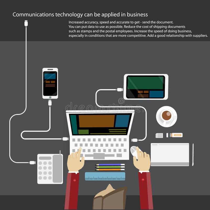 营业通讯技术用人手、数字式片剂、智能手机、纸和各种各样的办公室在桌上反对 平面 向量例证