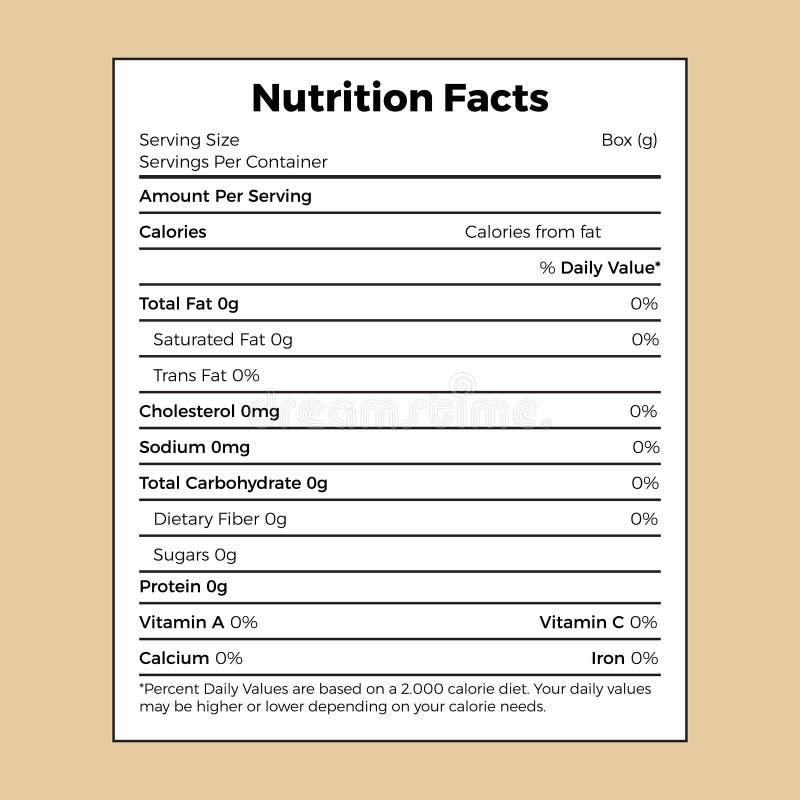 营养事实箱子的信息标签 皇族释放例证