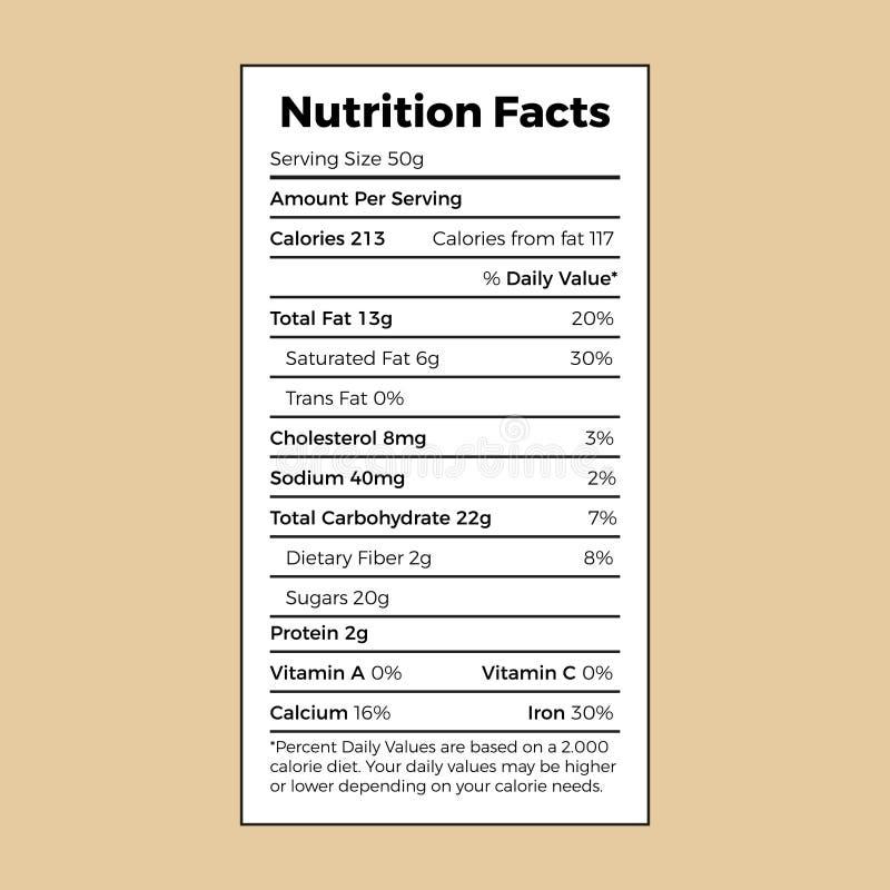 营养事实箱子的信息标签 向量例证