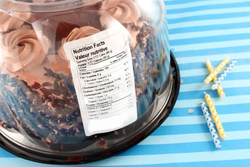 营养值巧克力蛋糕 免版税库存图片