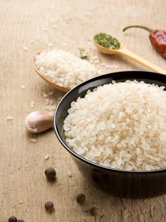 营养米集合木头 免版税库存图片