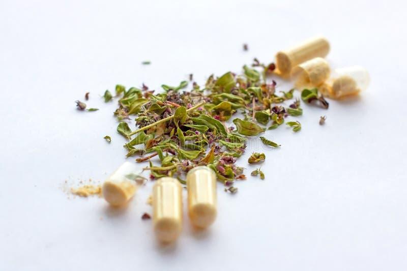 营养补充药片和胶囊在干草本背景 供选择草药,naturopathy和同种疗法 免版税库存照片