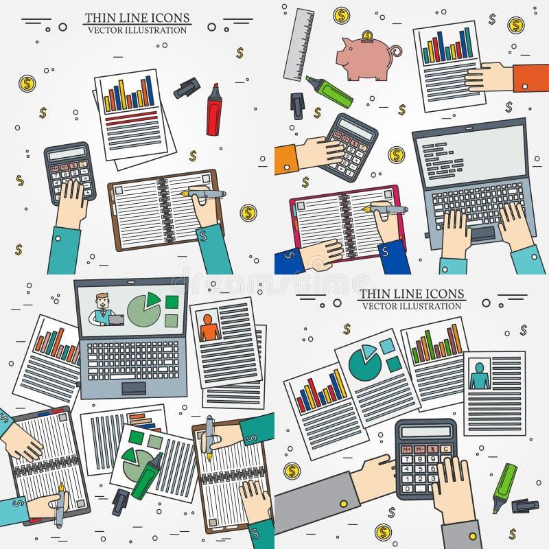 经营分析和计划的概念,咨询,合作wo 库存例证