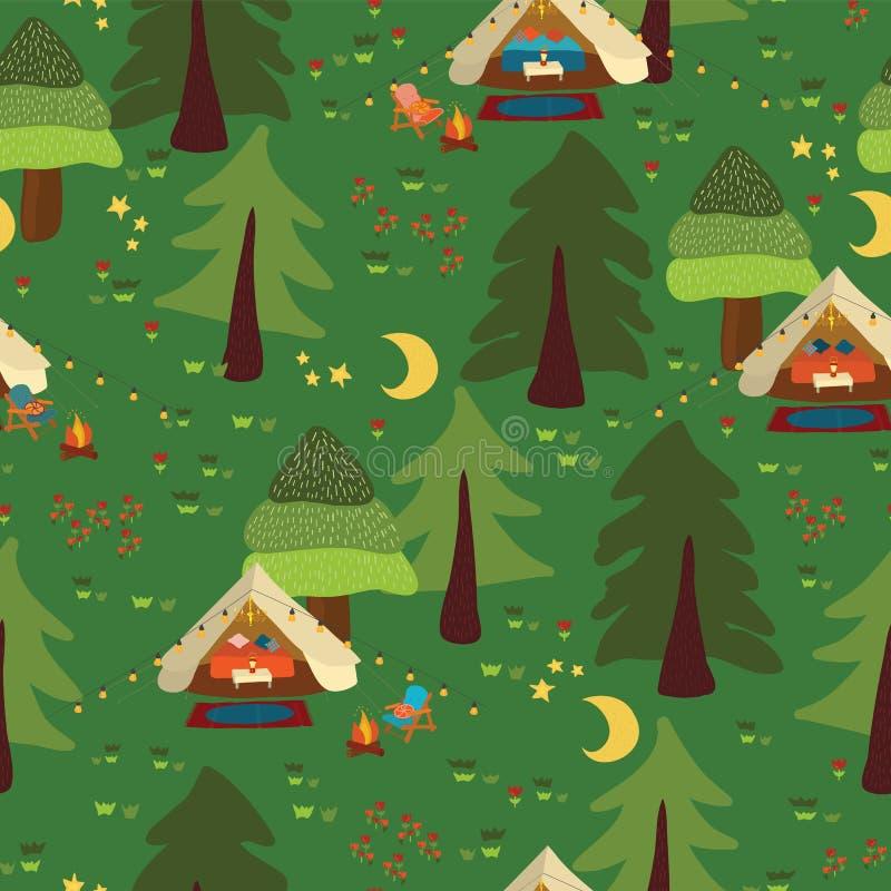 营地室外场面无缝的传染媒介背景 野营的样式 Glamping Boho帐篷在林木的晚上,营火, 向量例证
