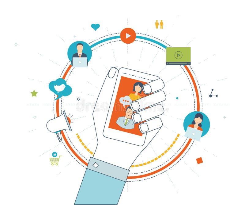 经营战略、通信、社会网络和流动行销的概念 向量例证