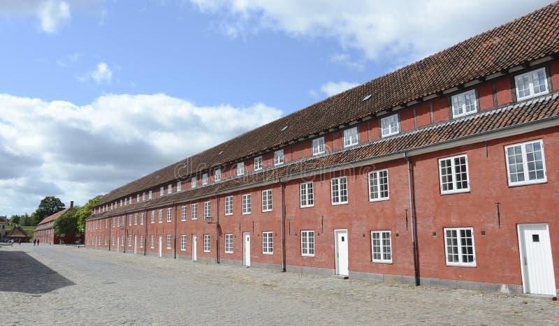 营房在Kastellet堡垒,哥本哈根,丹麦 免版税库存照片