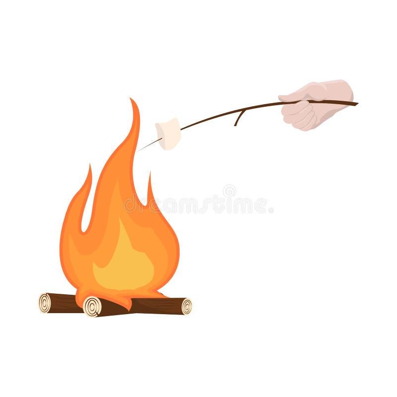 营火和蛋白软糖标志传染媒介设计  设置营火和篝火股票的传染媒介象 皇族释放例证