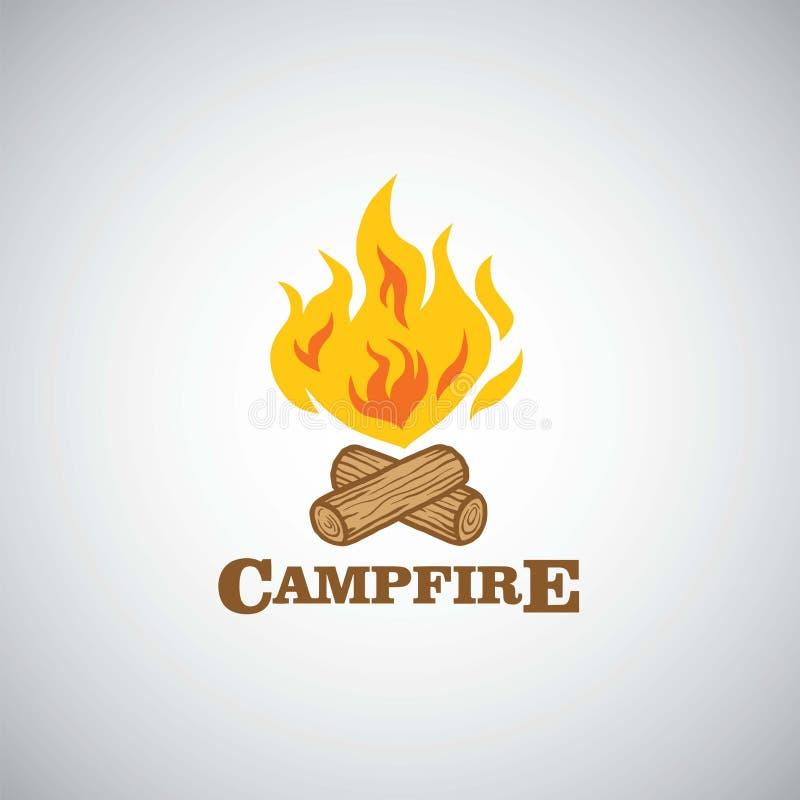 营火山冒险商标传染媒介例证 野营的,冒险假日活动模板 向量例证