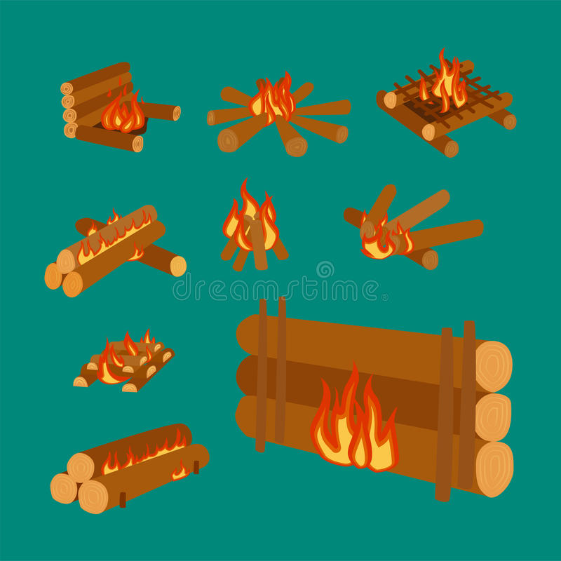 营火日志的被隔绝的例证烧篝火的和木柴堆积传染媒介 向量例证