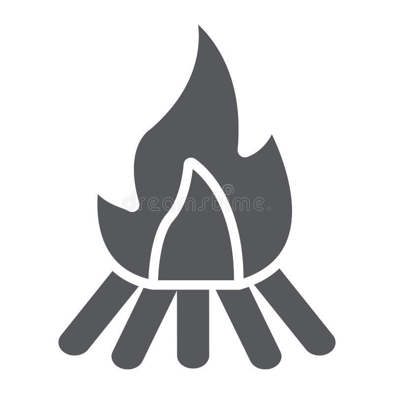 营火纵的沟纹象、火和烧伤,篝火标志,向量图形,在白色背景的一个坚实样式 库存例证