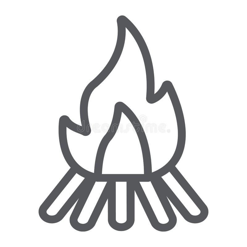 营火线象,火和烧伤,篝火标志,向量图形,在白色背景的一个线性样式 库存例证