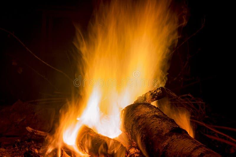 营火背景的夜 免版税图库摄影