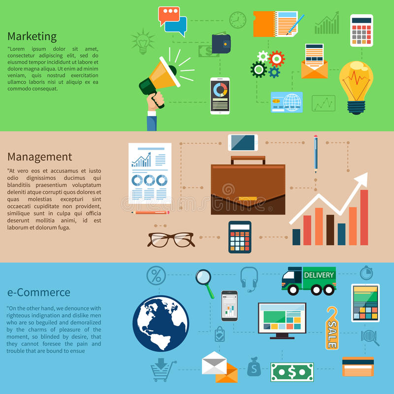 营销、管理和电子商务 库存例证