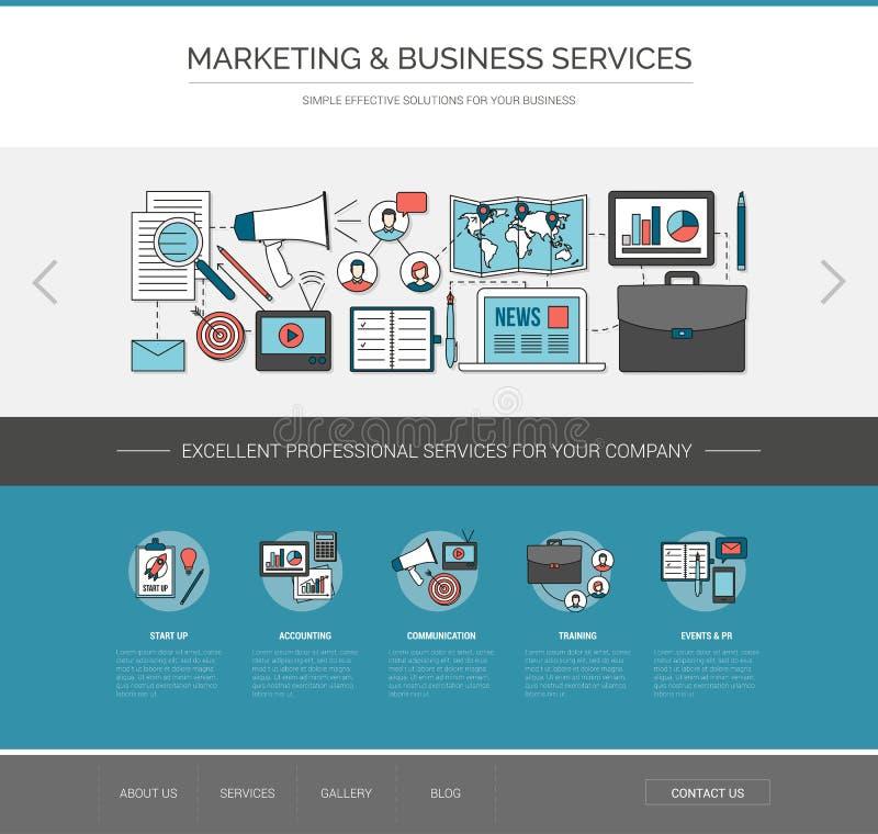 营销和通信网模板 皇族释放例证