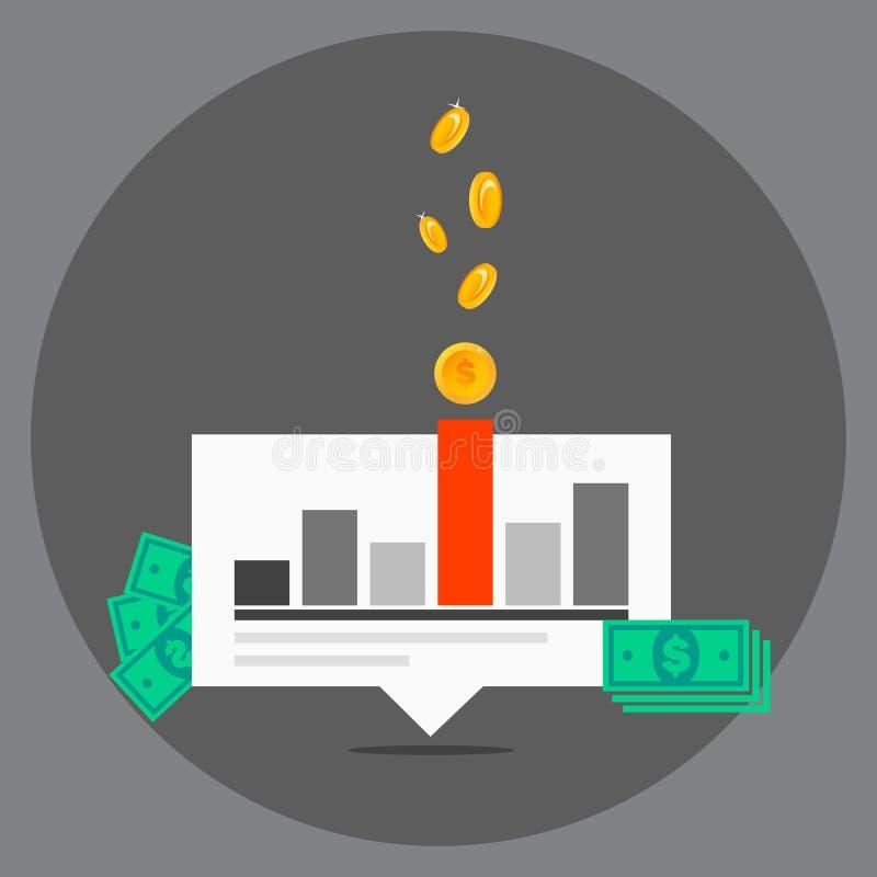 营销平的设计观念的传染媒介例证 股票市场新闻,财务分析的平的设计横幅概念和 皇族释放例证