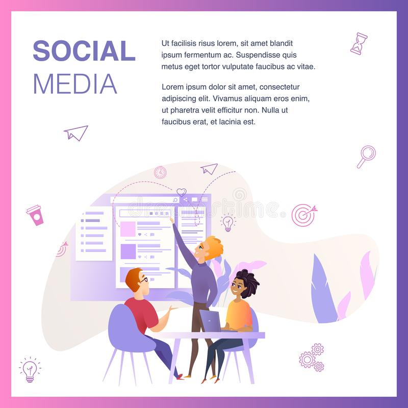 营销机构队改进社会媒介Ui 向量例证