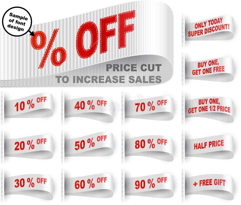 营销标记衣裳标签胶粘物被缝合的降价集合白色 皇族释放例证