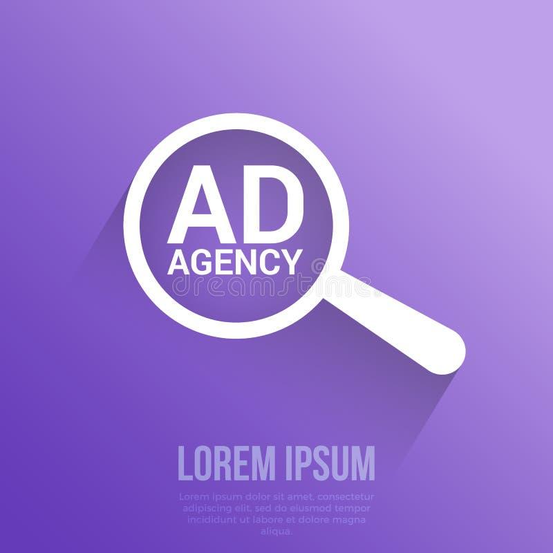 营销概念:与词广告代理的扩大化的光学玻璃 向量例证