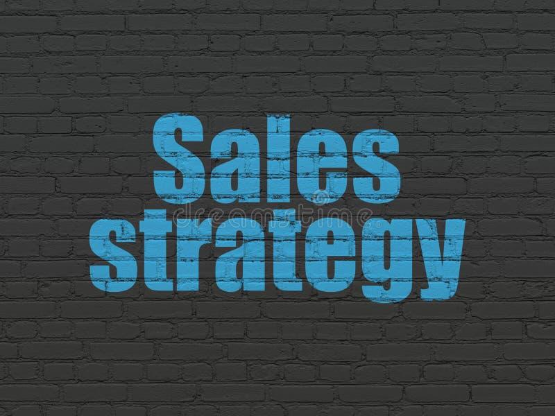 营销概念:在墙壁背景的销售战略 库存图片