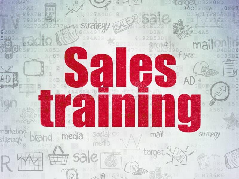 营销概念:在数字式纸的销售培训 向量例证