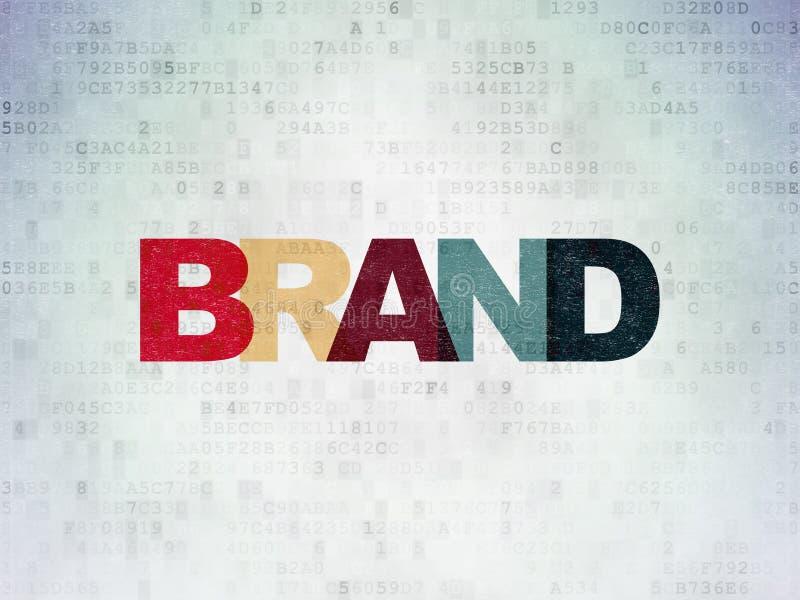 营销概念:在数字资料纸背景的品牌 免版税图库摄影