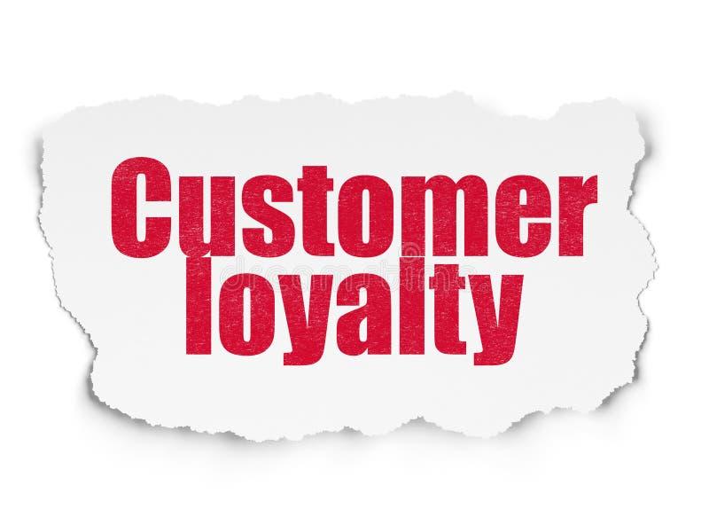 营销概念:在被撕毁的纸背景的顾客忠诚 皇族释放例证