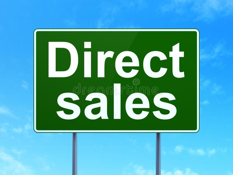 营销概念:在路标背景的直接销售 向量例证