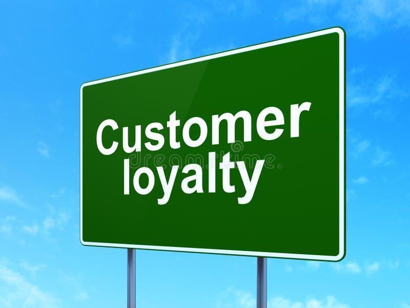营销概念:在路标背景的顾客忠诚 皇族释放例证