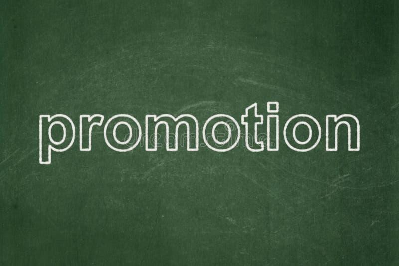 营销概念:在黑板背景的促进 免版税库存图片