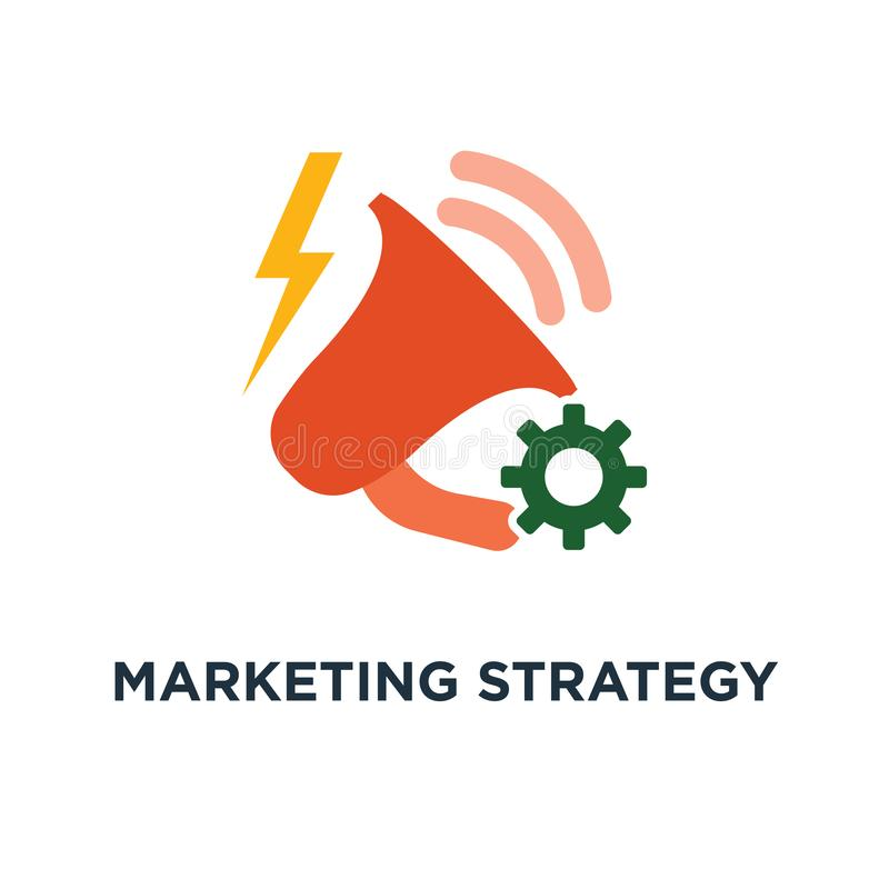 营销策略计划象 扩音机,企业促进,顾客吸引力概念标志设计,注意公告, 库存例证
