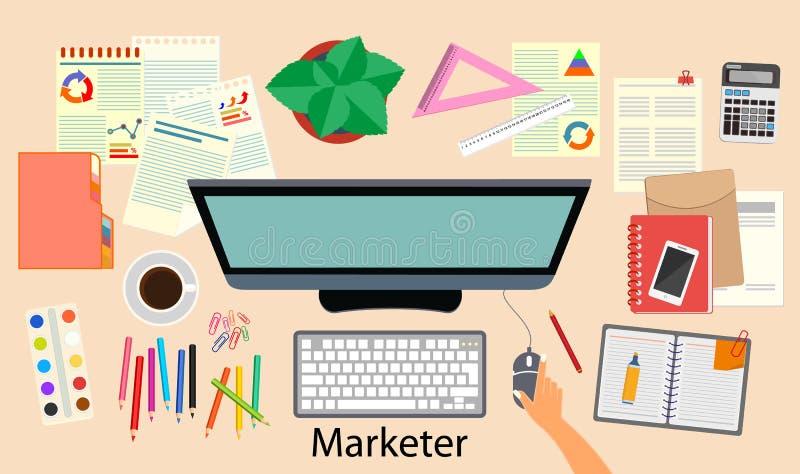 营销 办公室 工作场所去市场的人 顶视图 也corel凹道例证向量 向量例证