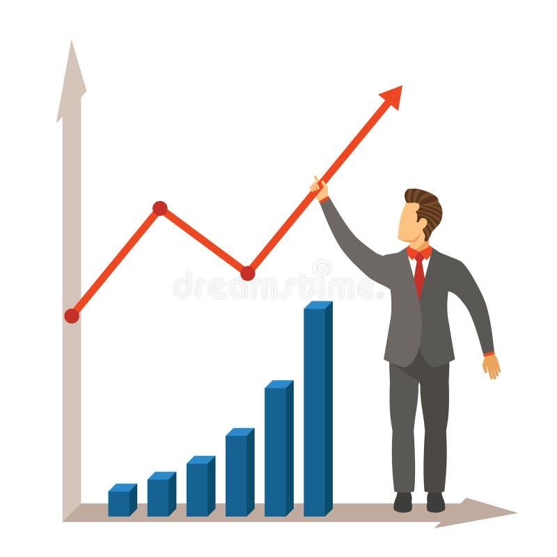 经营活动成长和成功导航在现代平的样式的概念 库存例证
