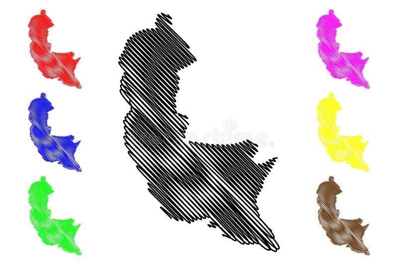 萨伯勒格穆沃省,斯里兰卡管理部门,民主党社会主义斯里兰卡共和国,锡兰地图传染媒介 皇族释放例证