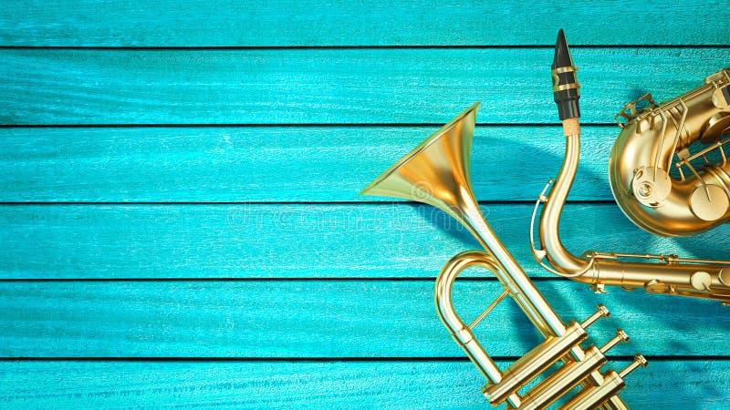 萨克斯管和喇叭 免版税库存图片