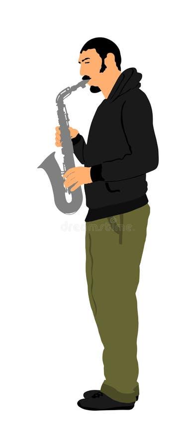 萨克管演奏员传染媒介例证 音乐人戏剧管乐器 音乐艺术家爵士乐人 号兵街道执行者 库存例证