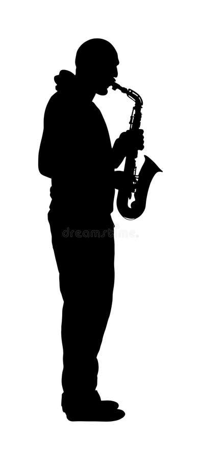 萨克管演奏员传染媒介剪影例证 音乐人戏剧管乐器 音乐艺术家爵士乐人 库存例证