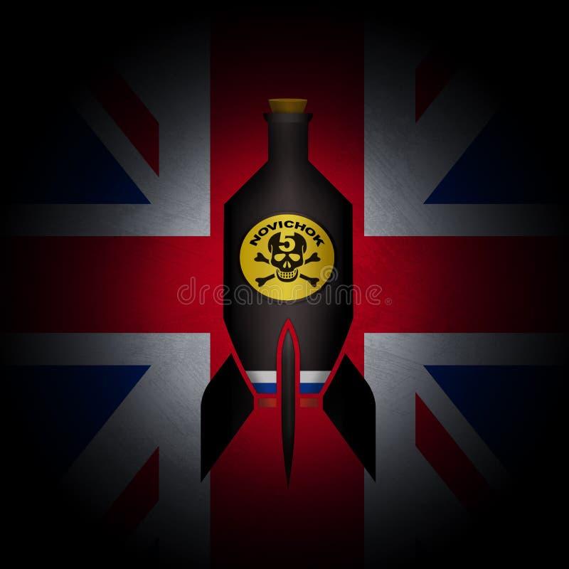 萨利,英国, 2018年3月14日-涉嫌的毁灭的俄国毒物攻击被说明的想法对英国的 向量例证