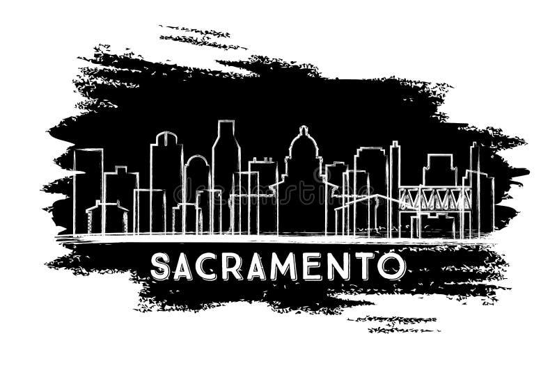 萨加门多加利福尼亚城地平线剪影 r 皇族释放例证