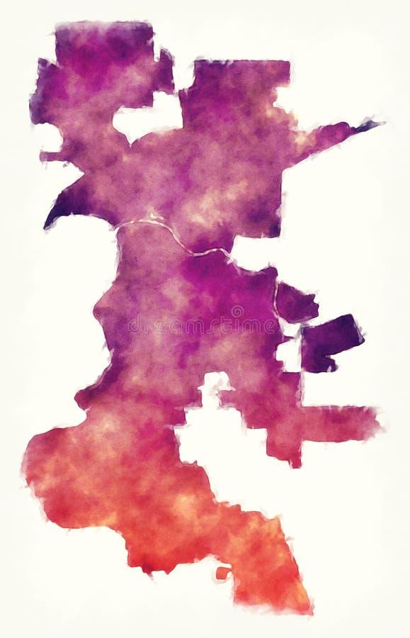 萨加门多加利福尼亚市在白色ba前面的水彩地图 库存例证