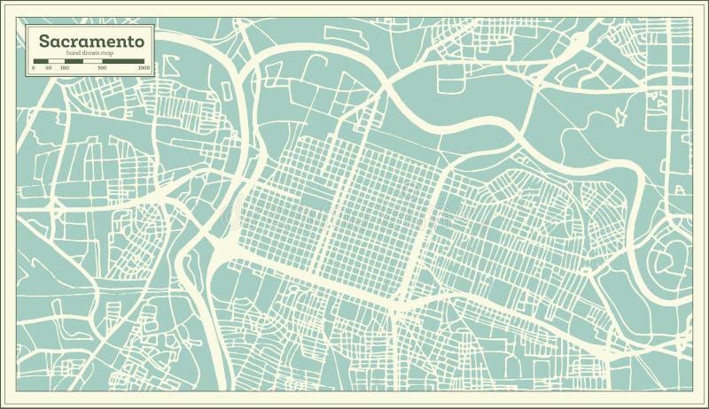 萨加门多加利福尼亚美国在减速火箭的样式的市地图 黑白向量例证 向量例证