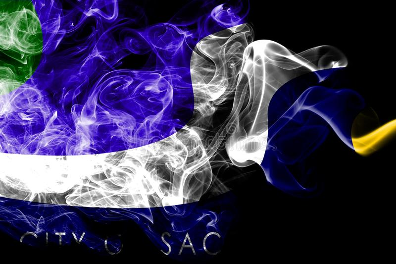 萨加门多市烟旗子,加利福尼亚状态,美利坚合众国 库存例证