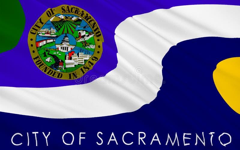萨加门多,加利福尼亚,美国旗子  库存例证