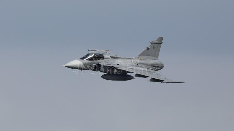 萨博鹰师喷气式歼击机 库存照片