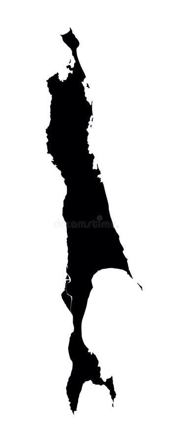萨哈林岛地图剪影 Sahkalin地图 Sachalin地图,俄罗斯的部分 向量例证