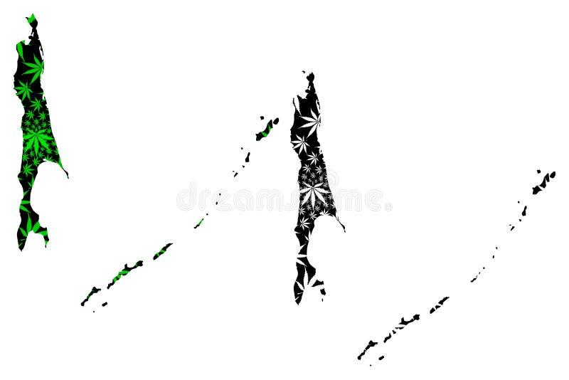 萨哈林州俄罗斯,俄罗斯联邦,俄罗斯地图Oblasts是被设计的大麻叶子绿色和黑的,萨哈林岛和 向量例证