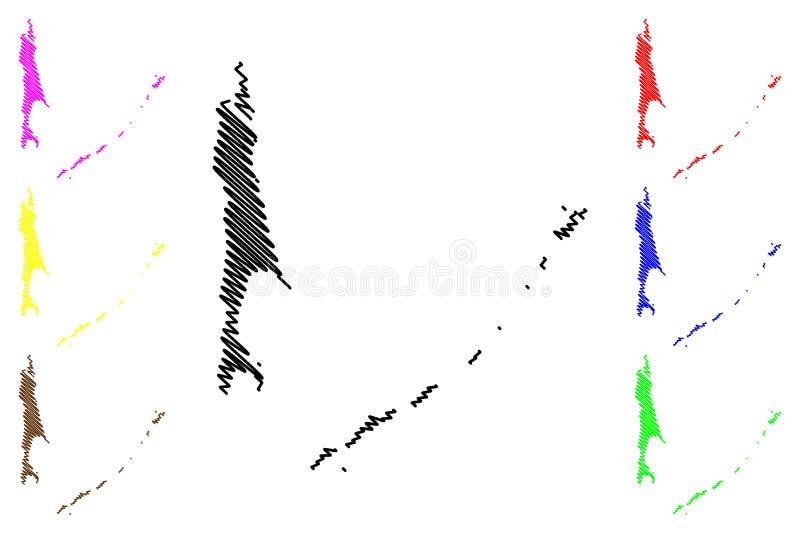 萨哈林州地图传染媒介 库存例证