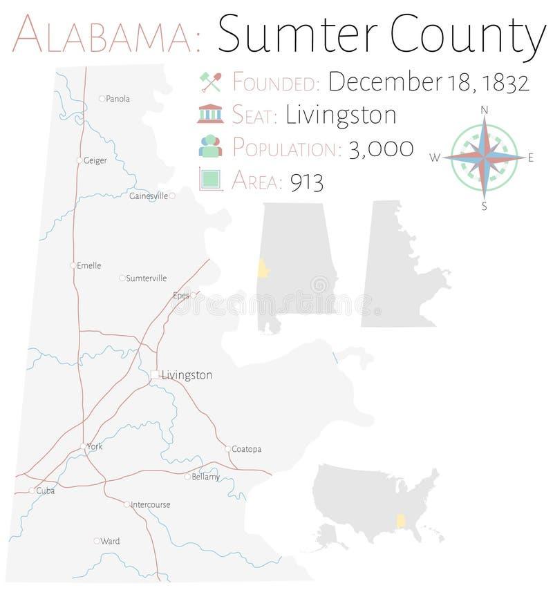 萨姆特县地图在阿拉巴马 库存例证